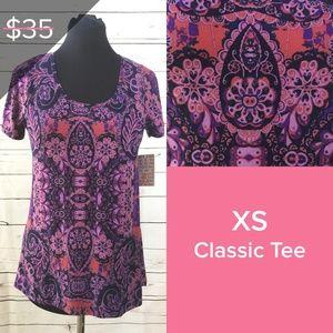 XS Lularoe Classic T, Purple Floral Design